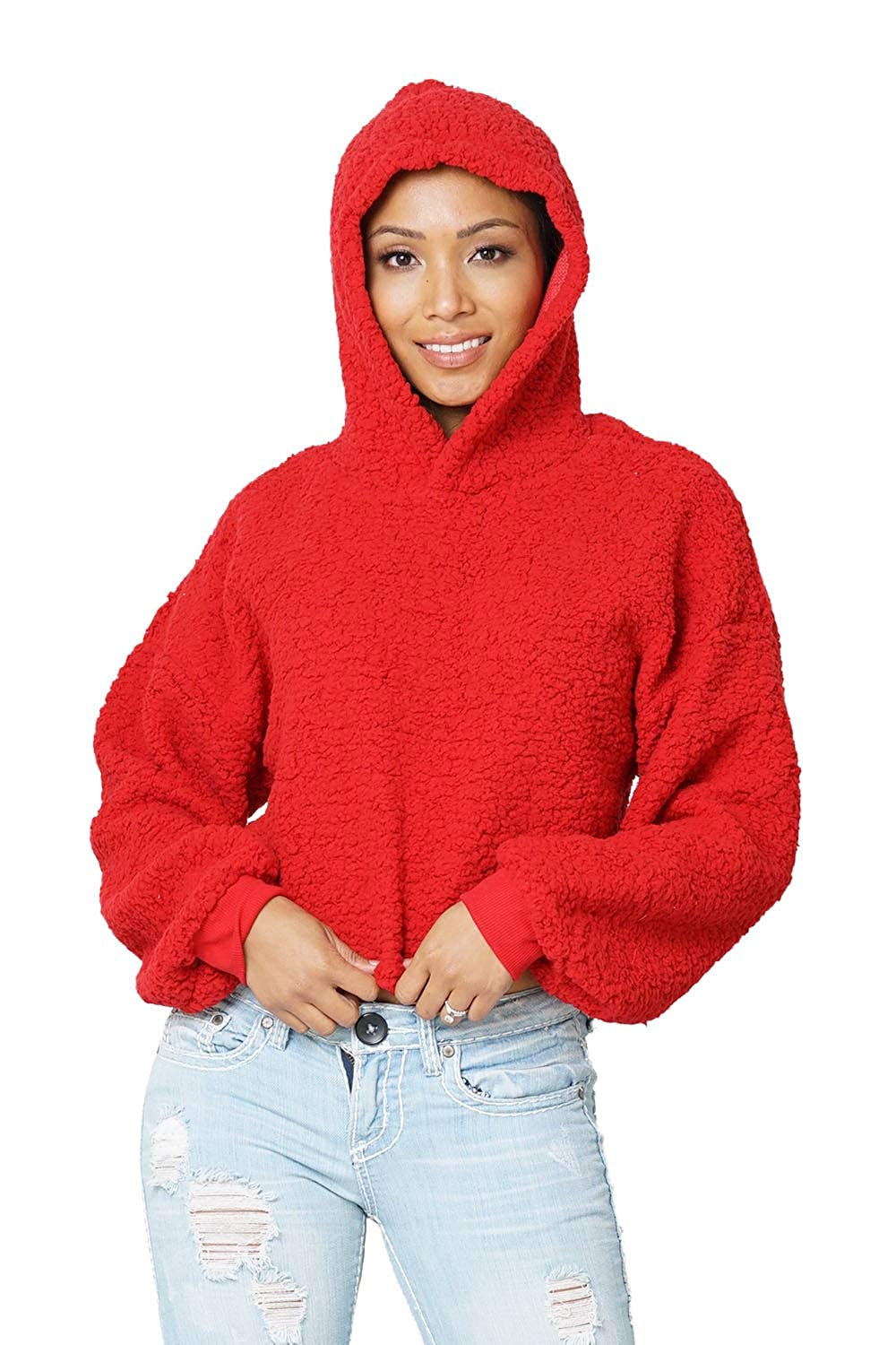 Carprinass Women's Sherpa Cropped Hoodie Teddy Fuzzy Pullover Sweatshirts Tops CS-0143