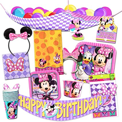 Disney Minnie Mouse Party Supplies Ultimate Set -- Party Favors, Birthday Party Decorations, Plates, Cups, Napkins, Minnie Mouse Ears and More