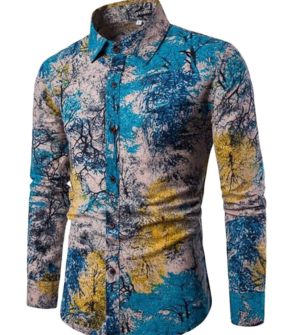 Sweatwater Mens Long Sleeve Lapel Casual Floral Print Tops Button Down Shirts