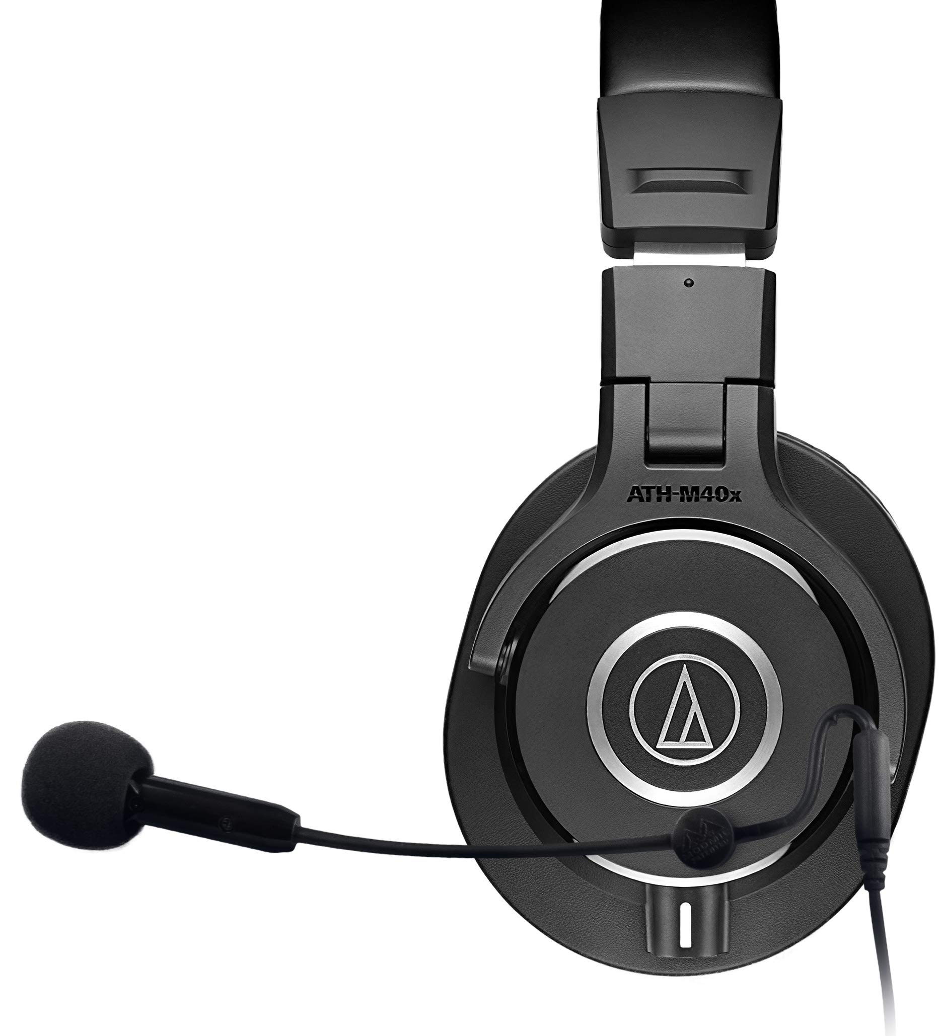 Audio-Technica ATH-M40x Professional Studio Monitor Headphones Bundle with Antlion Audio ModMic 5 Attachable Microphone and Blucoil Y Splitter for Audio, Mic