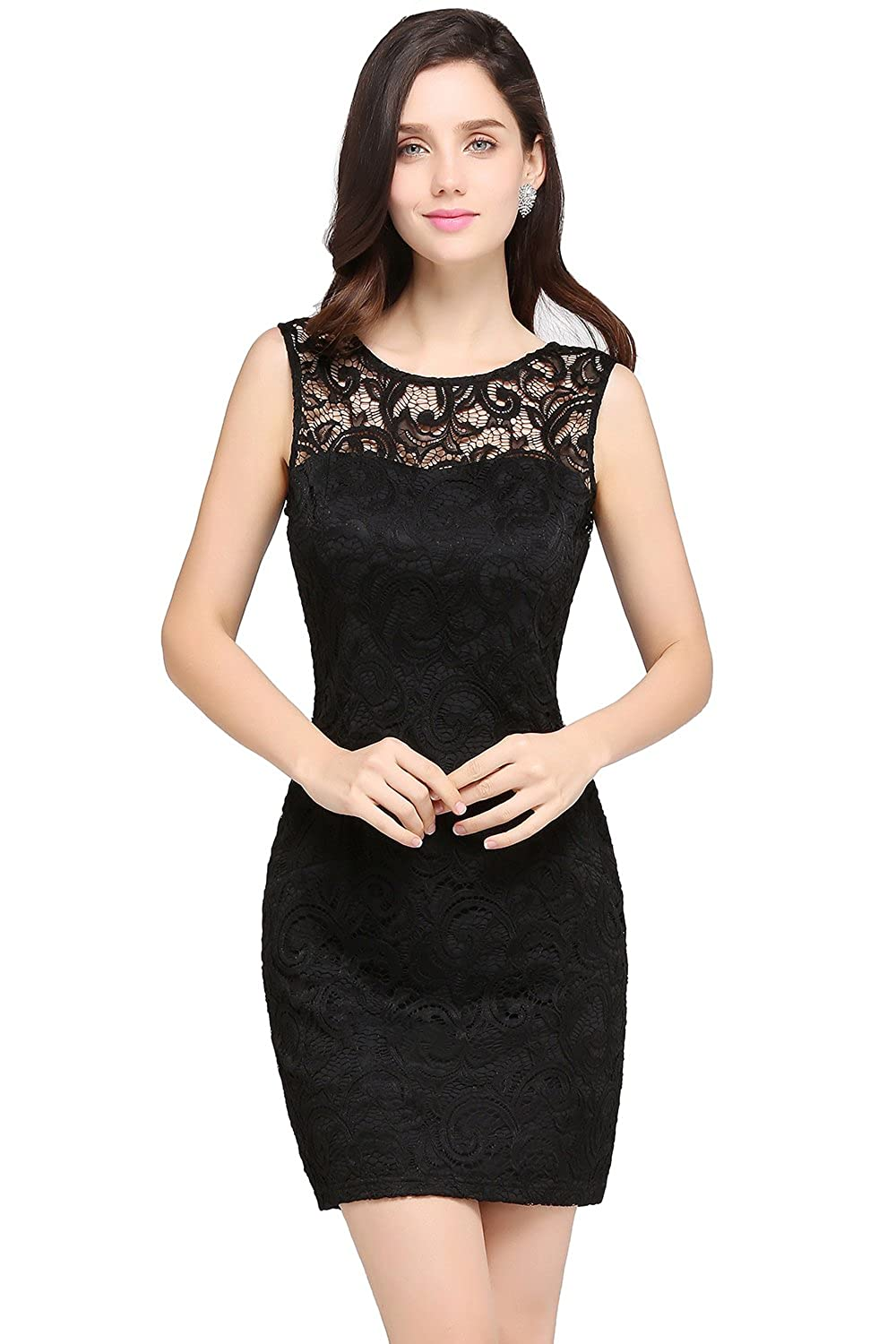 KuDress Chic Appliques Black Sleeveless Sexy Lace Ruffles Short Party Prom Dress(Customizable) at Amazon Womens Clothing store: