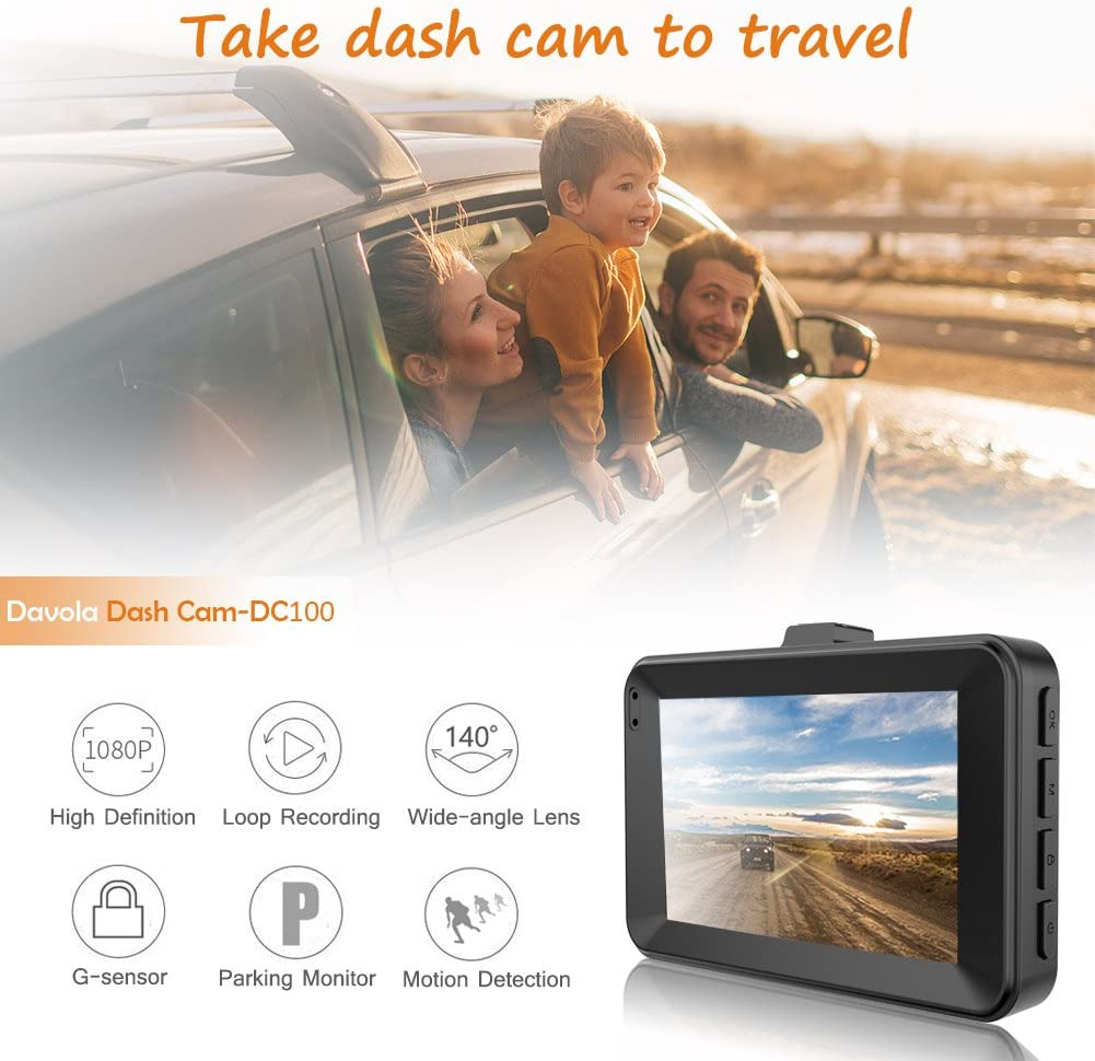 Dash Cam, Dashboard Camera for Cars 1080P Full HD 3 Car Camera with 140 Degrees Wide Angle G-Sensor Loop Recording Parking Monitor Night Vision