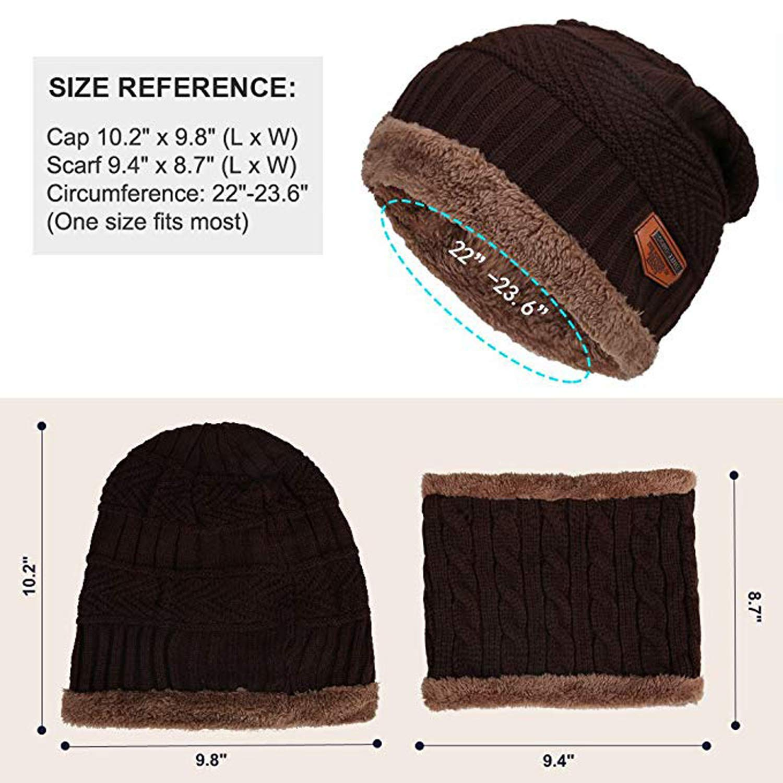 MuQing Mens Beanie Hat Scarf Set Knit Hat Warm Thick Winter Cap