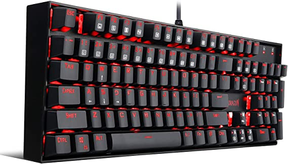 Redragon K551 Mechanical Gaming Keyboard with Clicky Cherry MX Blue Switches Equivalent Steel Aluminum Series Vara 104 Keys Wired Computer Keyboard for Windows PC Games (Black RED LED Backlit)