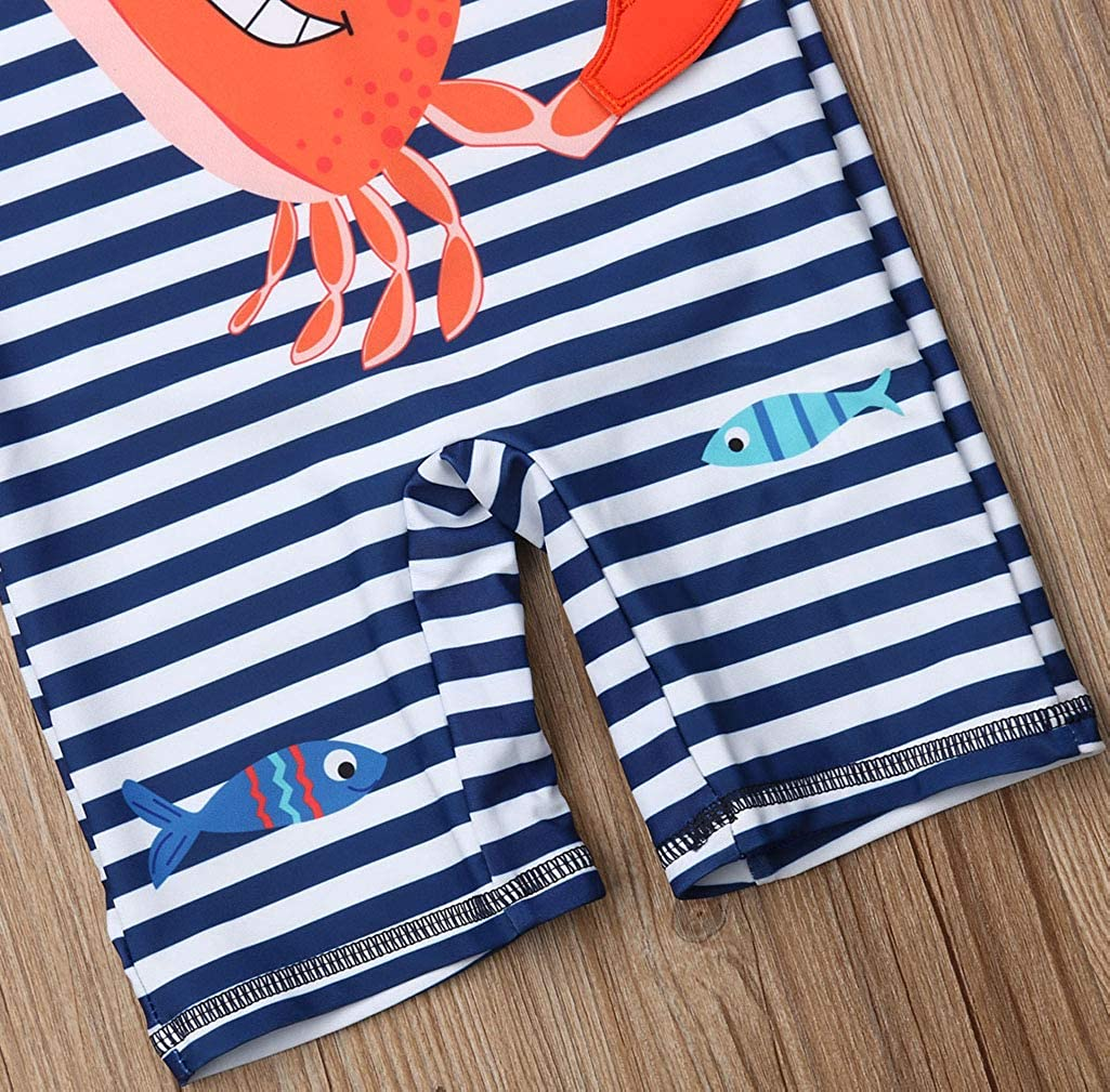 Karuedoo Kids Baby Boy Striped Swimsuit One Piece Surfing Suits Beach Swimwear Rash Guard with Hat