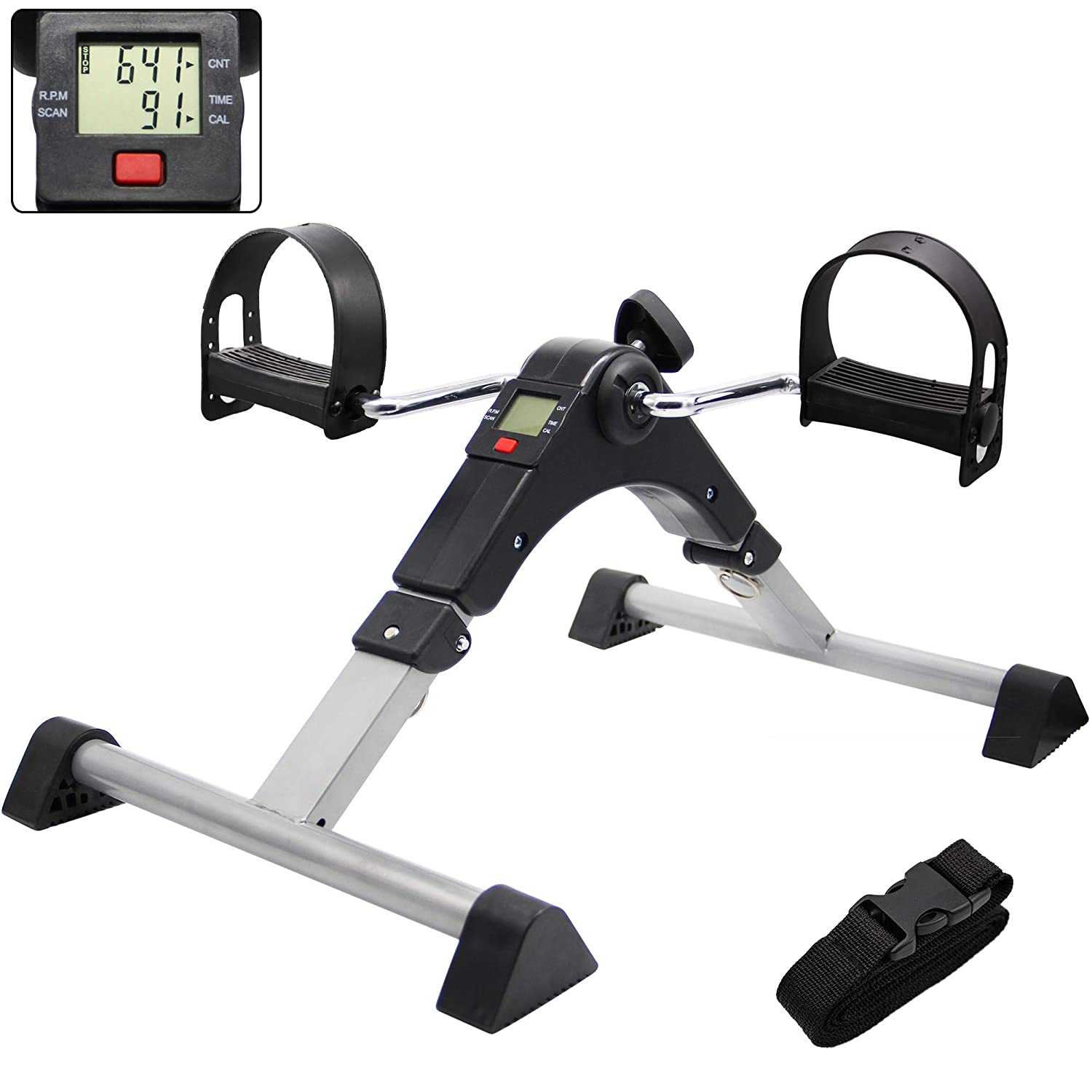 Hausse Folding Exercise Peddler Portable Pedal Exerciser with Electronic Display, Black: Industrial & Scientific