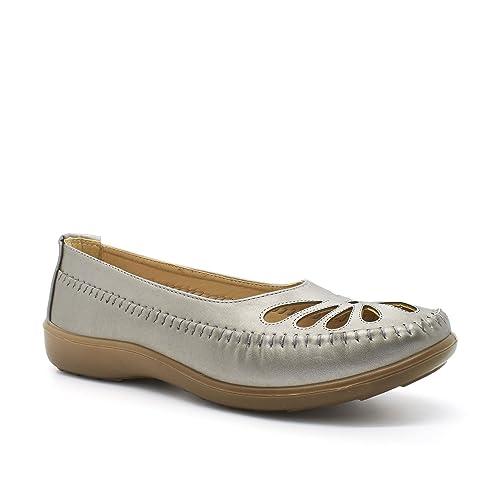 Boulevard - Mocasines de Material Sintético para mujer Plateado gris: Amazon.es: Zapatos y complementos