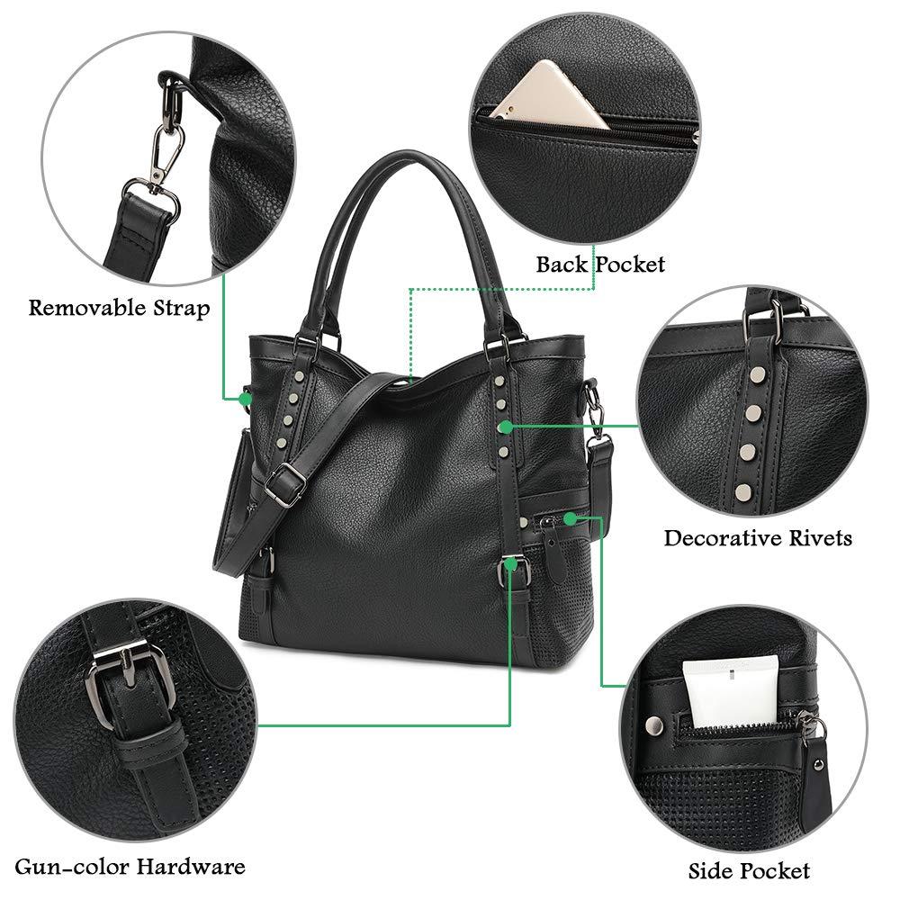 c318d6a6e3b6 Handbags for Women JOYSON Shoulder Bag Top Handle Satchel Handbags Tote  Rivets