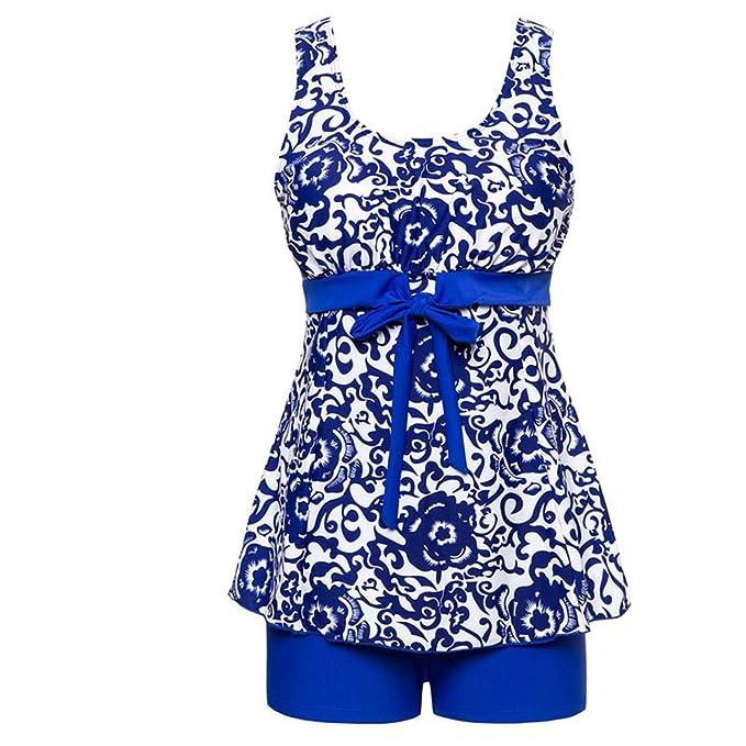 Amazon.com: Tankini para mujer Set Azul y Blanco Porcelana ...