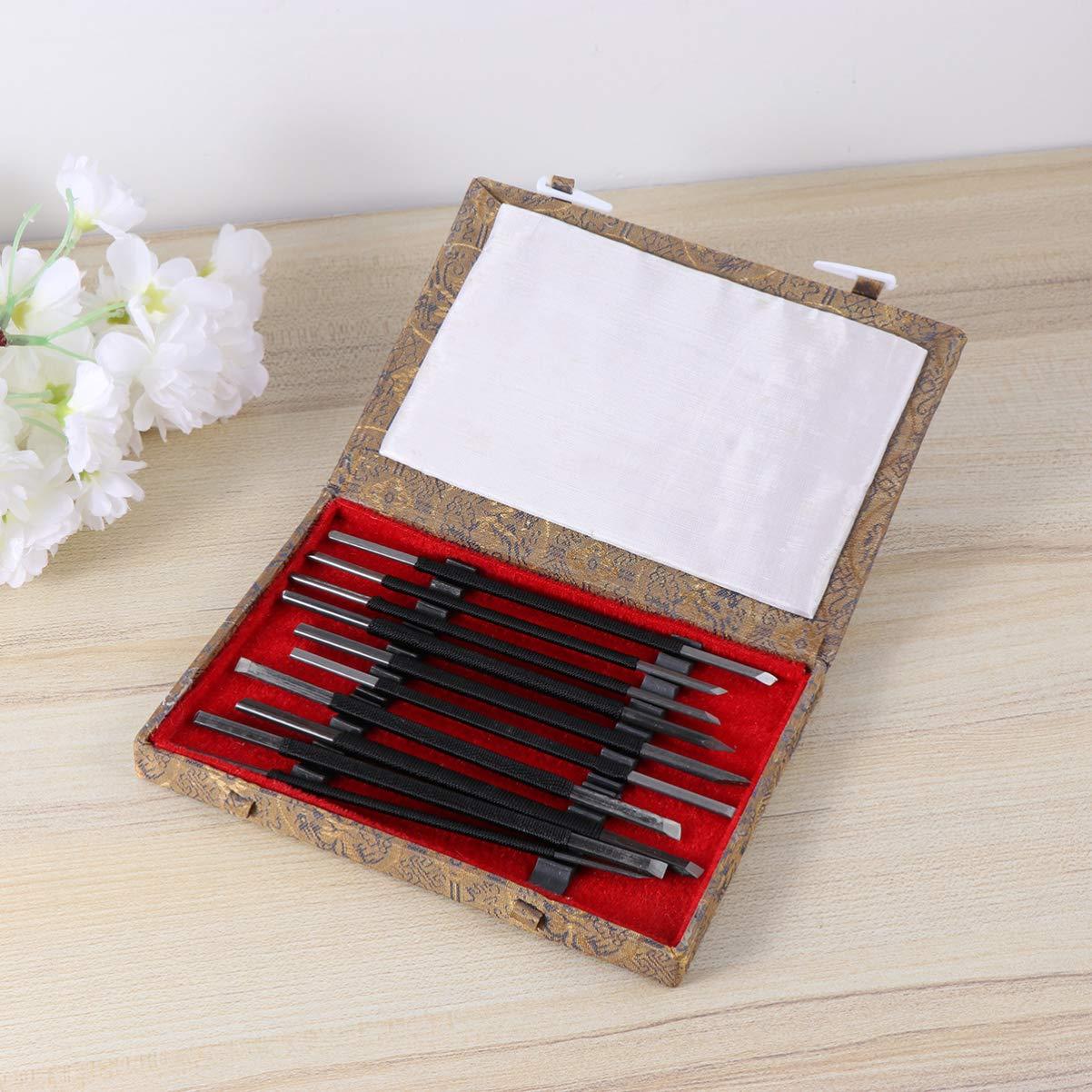 Artibetter 10 piezas de herramientas de talla de madera con caja de almacenamiento para carpinter/ía y grabado