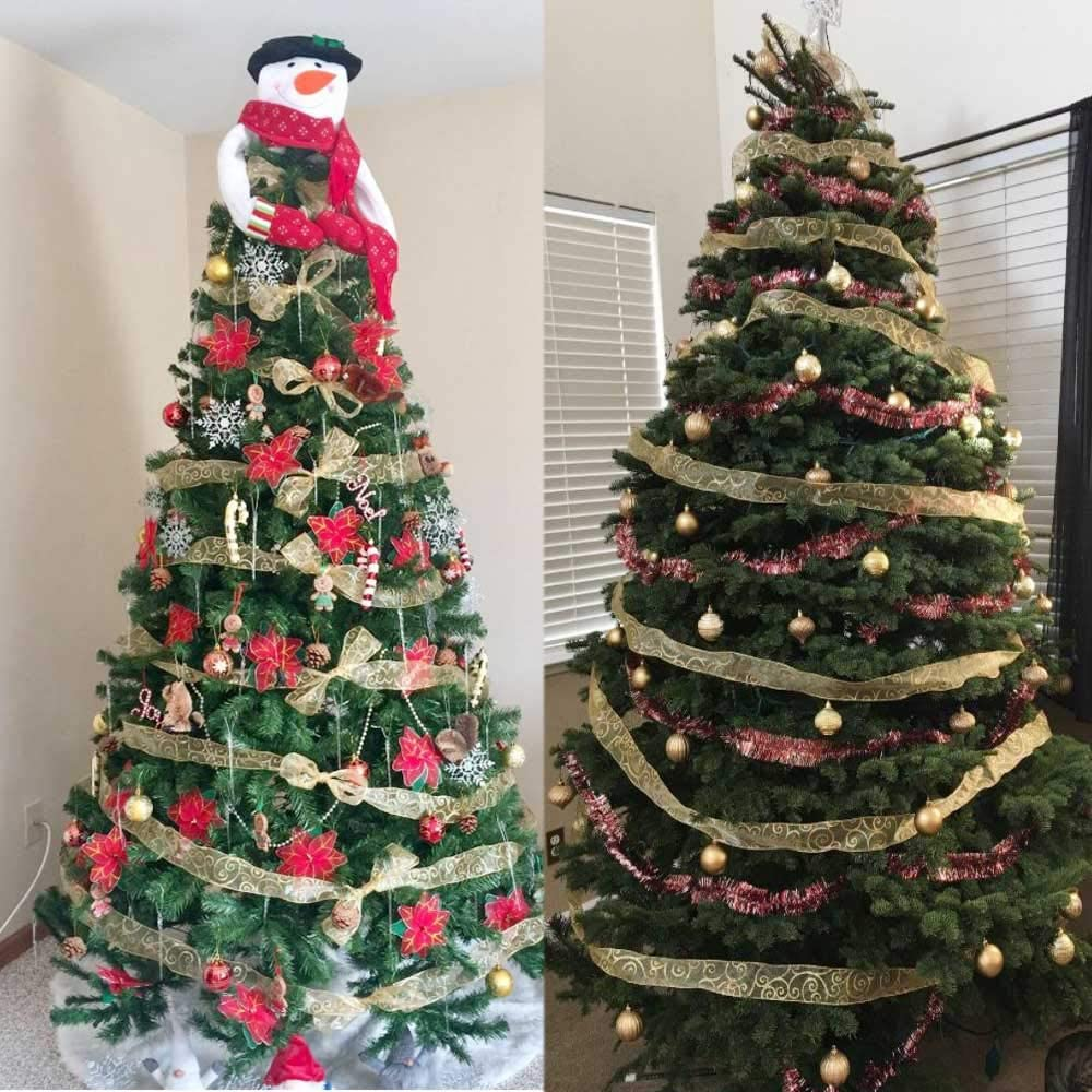 2 pulgadas por 100 yardas Christmas Ribbon Star Wired Sheer Glitter Cinta de Navidad rojo