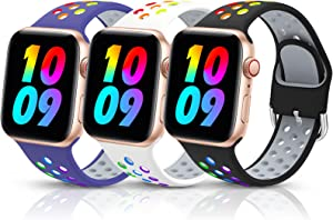 3 Pack Sport Silicone Bands Compatible with Apple Watch Bands 42mm 44mm Women Men, Breathable Soft Wristband Replacement Compatible for iWatch Series 6 5 4 3 2 1 SE(Color1,42MM/44MM)