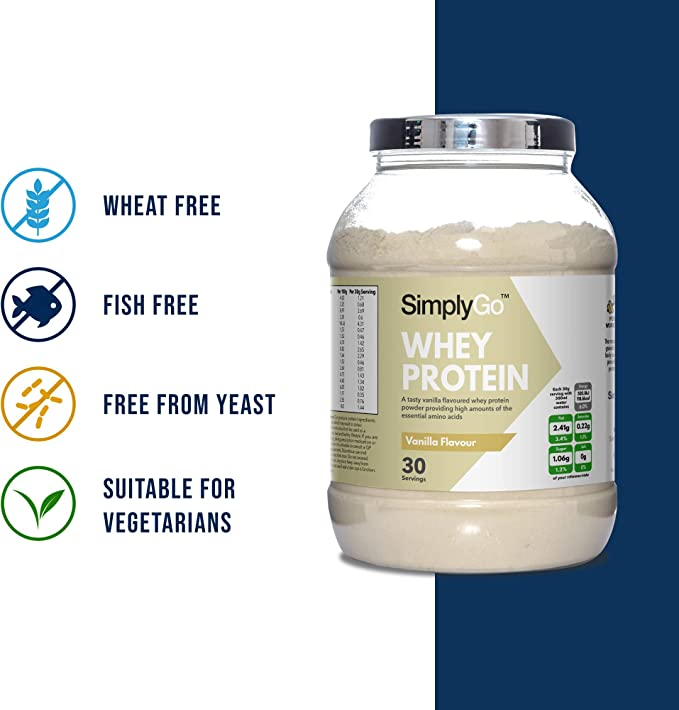 Proteína de Suero de Leche Sabor Vainilla - ¡30 Raciones! - Apto para vegetarianos - 900gr - SimplySupplements