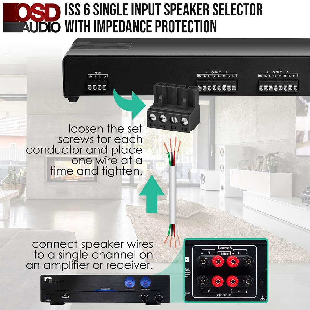 300W Dual Source and Volume Control SSVC6D OSD Audio 6-Zone Speaker Selector