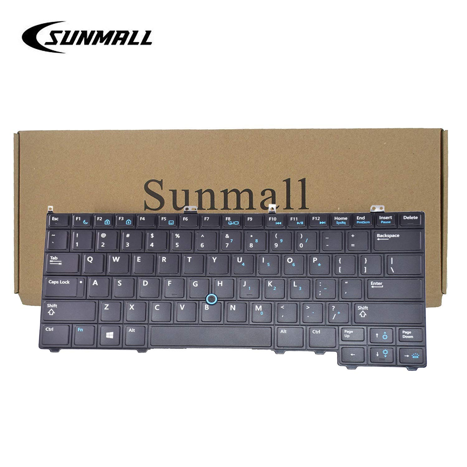 SUNMALL Backlit Keyboard Replacement with Pointer Compatible with Dell Latitude 14 7000 E7440 E7240 E7420 Series Black US Layout(6 Months Warranty)