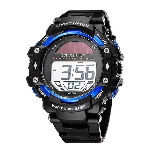 SKMEI Solar Lithium Luminous Alarm Sport 50M Waterproof Digital Mens Watch (Blue)
