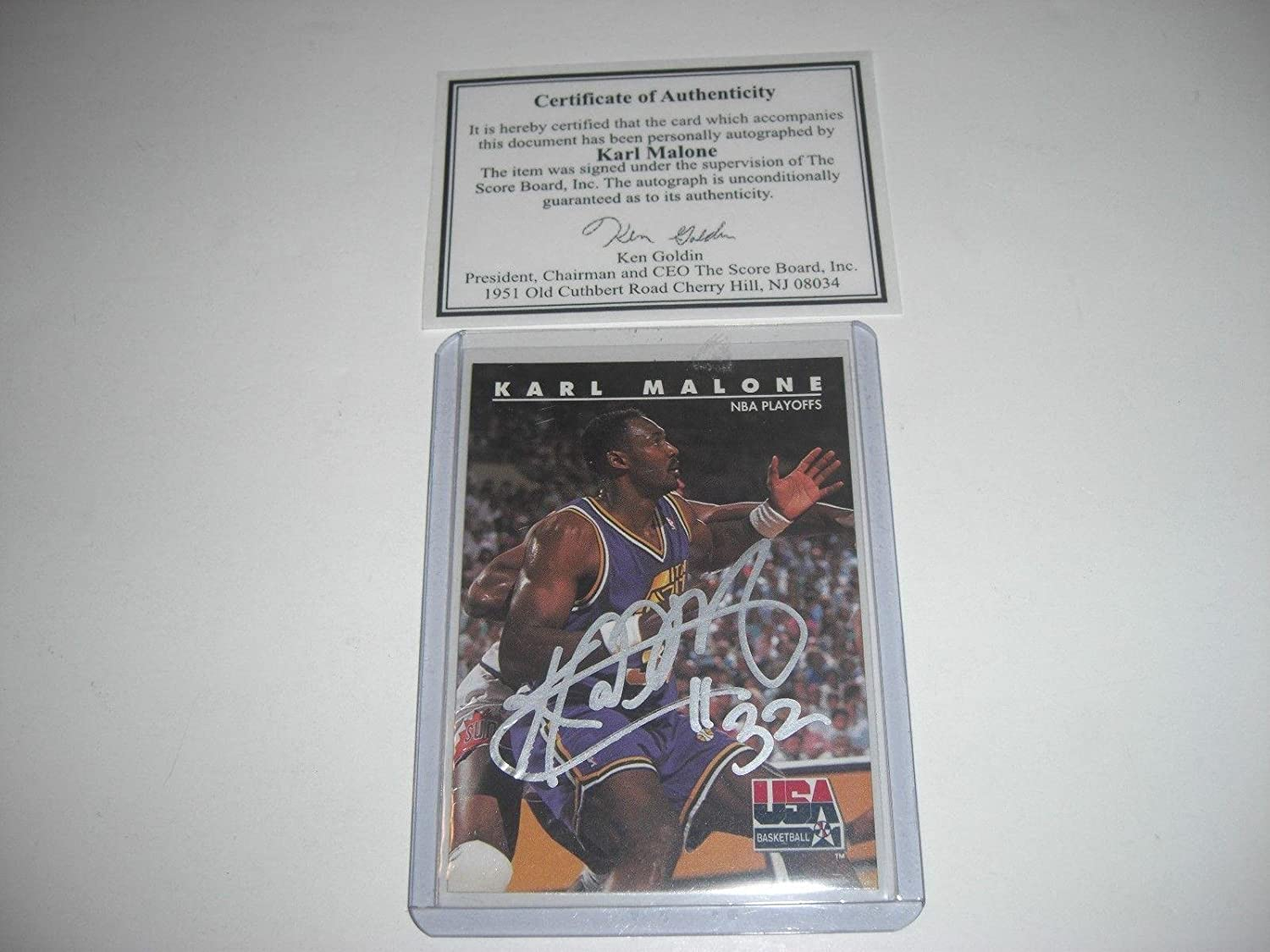 fb7ba27686e Karl Malone Utah Jazz Mailman Auto  3 Scoreboard coa   Stamp Signed Card -  Basketball Autographed Cards at Amazon s Sports Collectibles Store