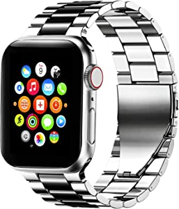 Fitlink Stainless Steel Metal Band for Apple Watch 38/40/42/44mm Strap Replacement Link Bracelet Band Compatible with Apple Watch Series 6/54/3/2/1/SE(Silver/Black,38/40mm)