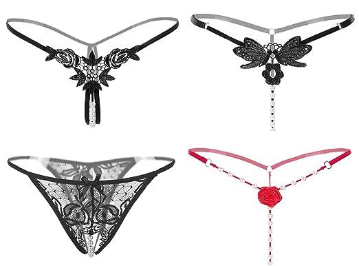 Evelure Damen Strings Dessous Panty Hipster Höschen Offener Schritt  Boyshort Spitze Unterwäsche mit Spitze (1pcs) (One Size(M-XL), Rosa):  Amazon.de: ...