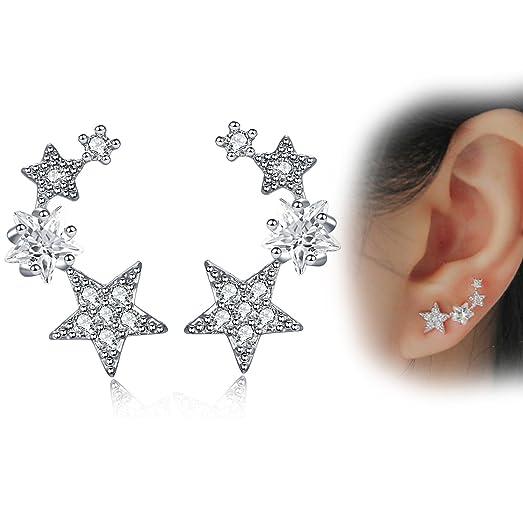Beginnings Triple Star Stud Earrings - Silver Silver (Colour) zQYfNBxG40