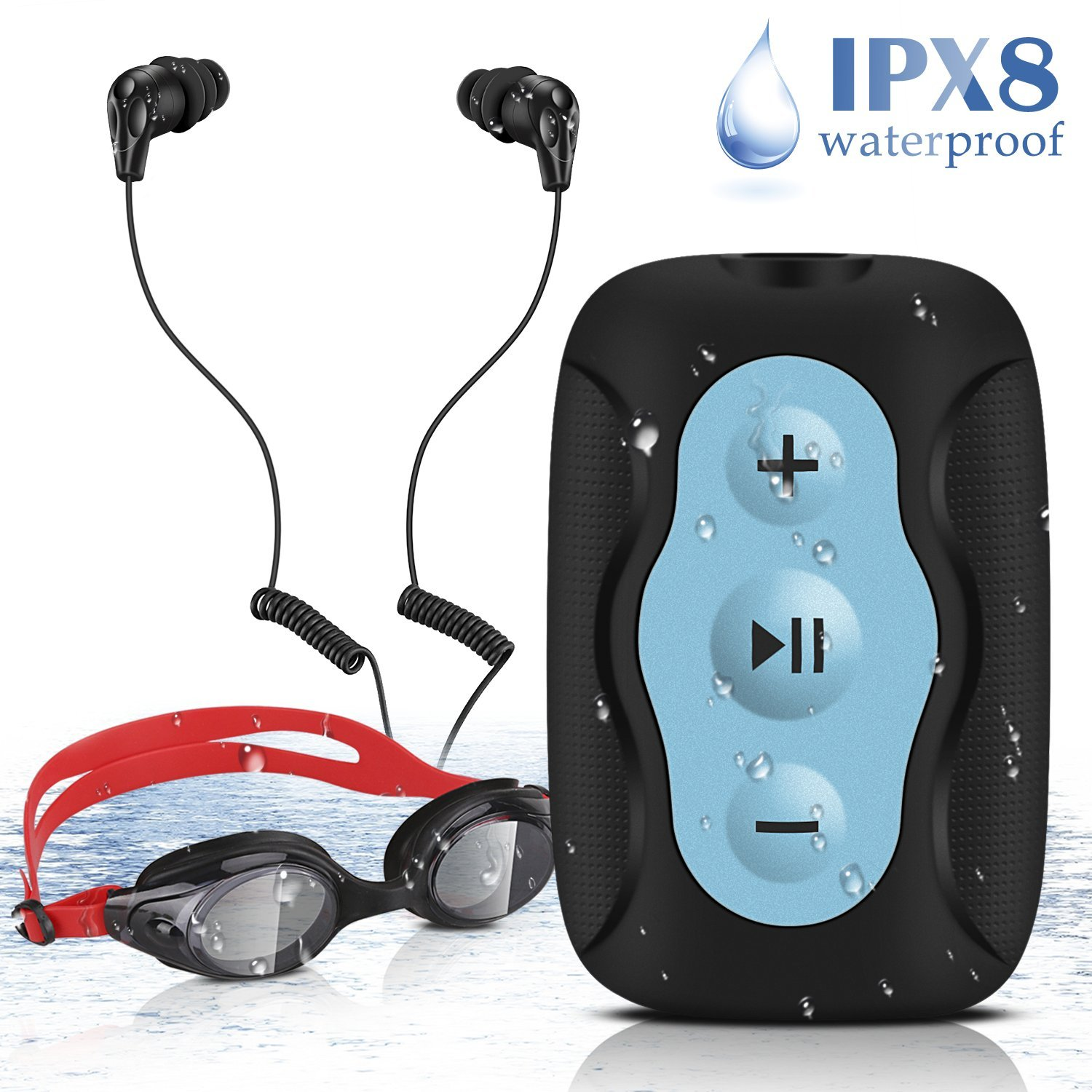 a9dcf9782f61 AGPTEK S33B 8GB IPX8 Waterproof Clip MP3 Player with IPX8 Waterproof  Earphones Swimming Goggles for Swimming
