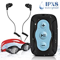 AGPTEK Swimming MP3 Player Underwater Waterproof IPX8, Clip MP3 Music Player 8GB, Waterproof Headphones Replacement Ear Buds and Goggles Included