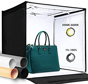 """Amzdeal Photo Studio Light Box 16"""" x 16"""" Photography Light Box Kit Adjustable Color Temperature&Brightness Photo Background Shooting Tents with 4 Colored Backdrops"""