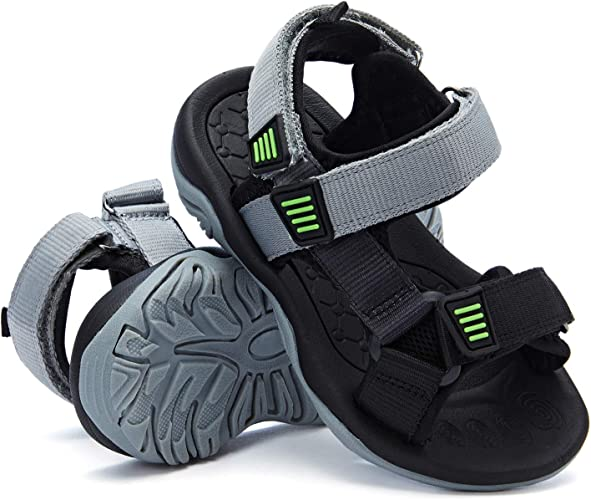 Color : Gray , Size : 2.5 M US Little Kid Non-Slip Summer Shoes Kids Boys Open Toe Three Strap Walking Sandals Durable