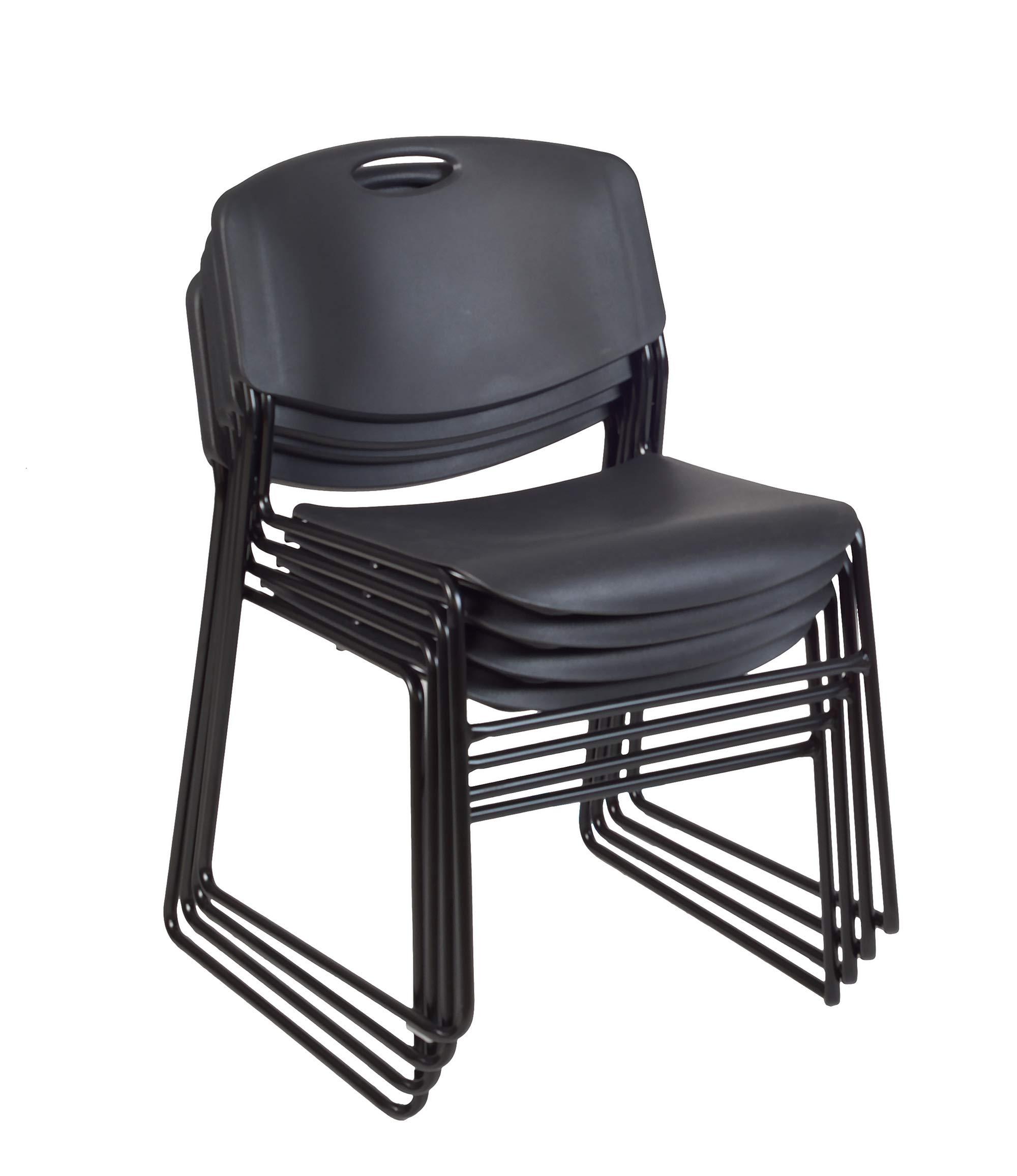 Regency Zeng Stack Chair (4 Pack), Black by Regency