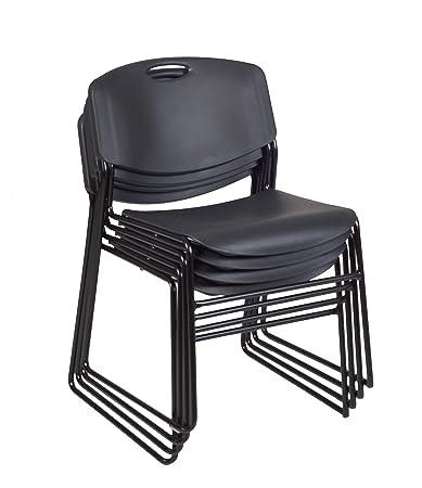 Regency 4400BK4PK Zeng Stack Chair 4 Pack , Black