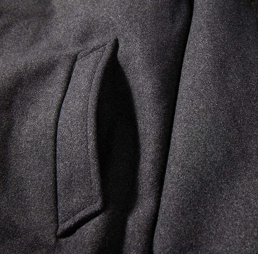 BOBOYU Men Plain Turn Down Collar Trendy Warm Casual Winter Wool Outerwear Coats