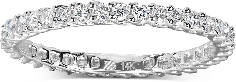 0.5 Carat Round Diamond Trellis Eternity Band in 14k White Gold Size 4 to 7