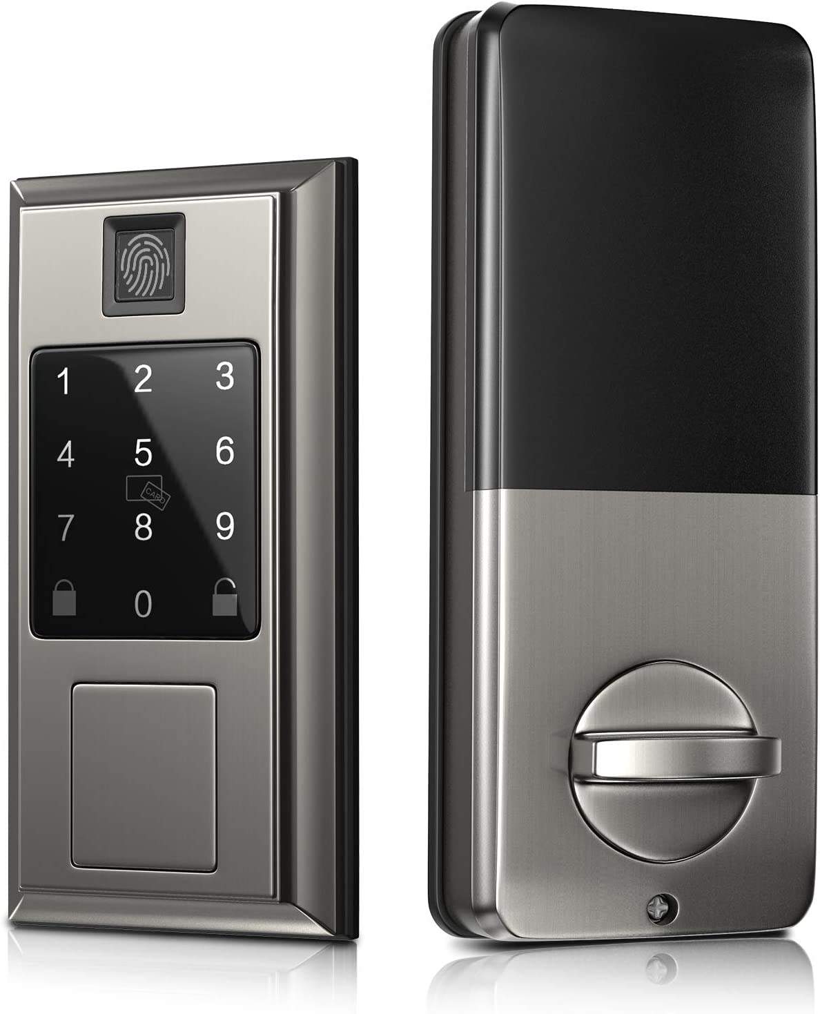 Security Smart Door Lock with Fingerprint Recognition, Oasbike Bluetooth Smart Door Lock, Touchscreen Keypad, Keyless Entry Door Lock Featuring Auto-Locking, Compatible with Alexa & Google Assistant