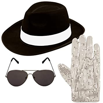 NEW ADULT MICHAEL JACKSON Afro Wig Glasses Pop Gloves GANGSTER FANCY DRESS