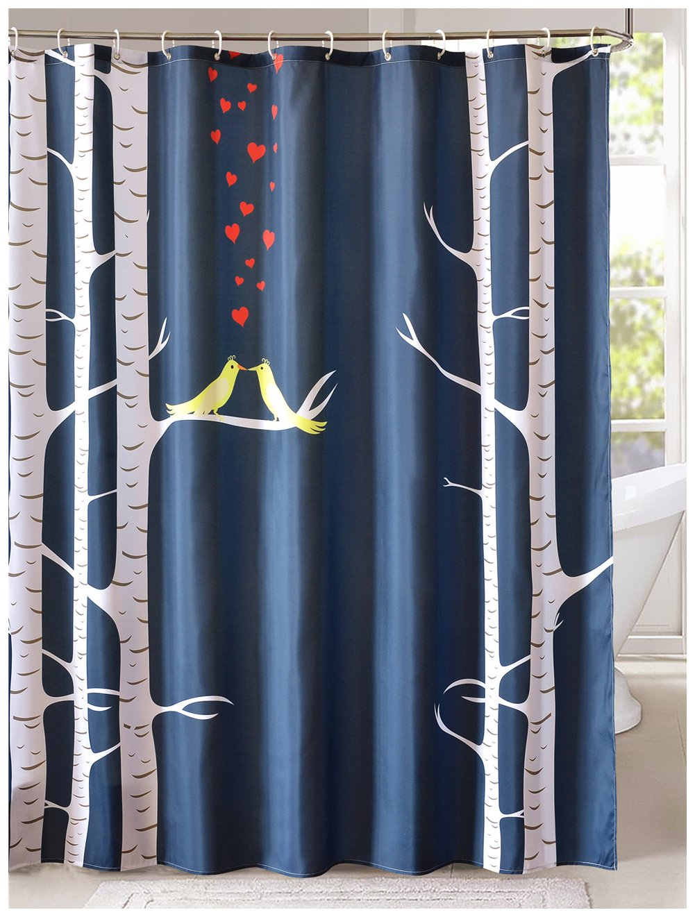 LanMeng Fabric Shower Curtain, Love Birds in the Woods, Navy Deep Blue Gray Yellow Red (72-by-72 inches)