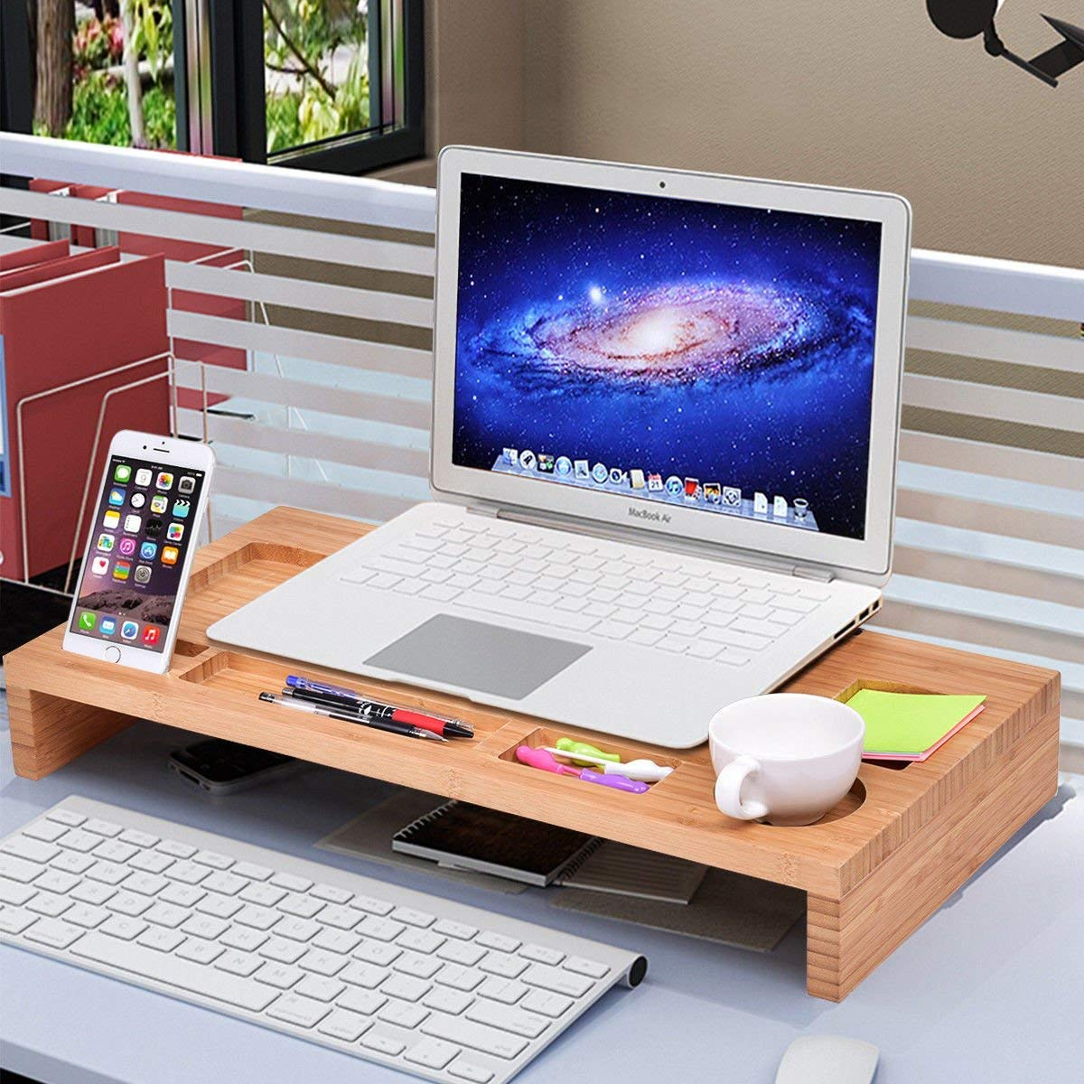 Tangkula Monitor Stand Riser Home Office Bamboo Riser Desktop Laptop Computer PC Screen Stand TV Monitor Printer Holder Stand Riser with Storage
