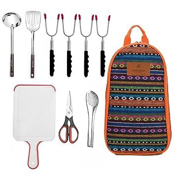 Bolsa de Camping Grill, cuchara Truner, tijeras abridor de botellas, metal pinzas,