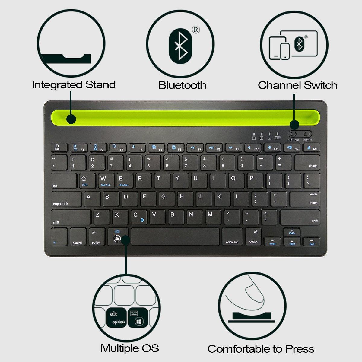 puhong batería inalámbrico teclado Bluetooth 4.0 Android 3.0 IOS WINDOWS XP Windows 7 aplicable a Windows 8 o superior sistema (funda para teléfono, Tablet, ...