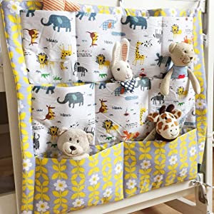 BOM Nursery & Diaper Hanging Organizers for Baby Bed Crib Bed Hanging Storage Bag (Animal)