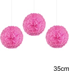 EinsSein 3er Set Pom Poms Large rosa DM 35cm Hochzeit Wedding Pompons Dekokugel