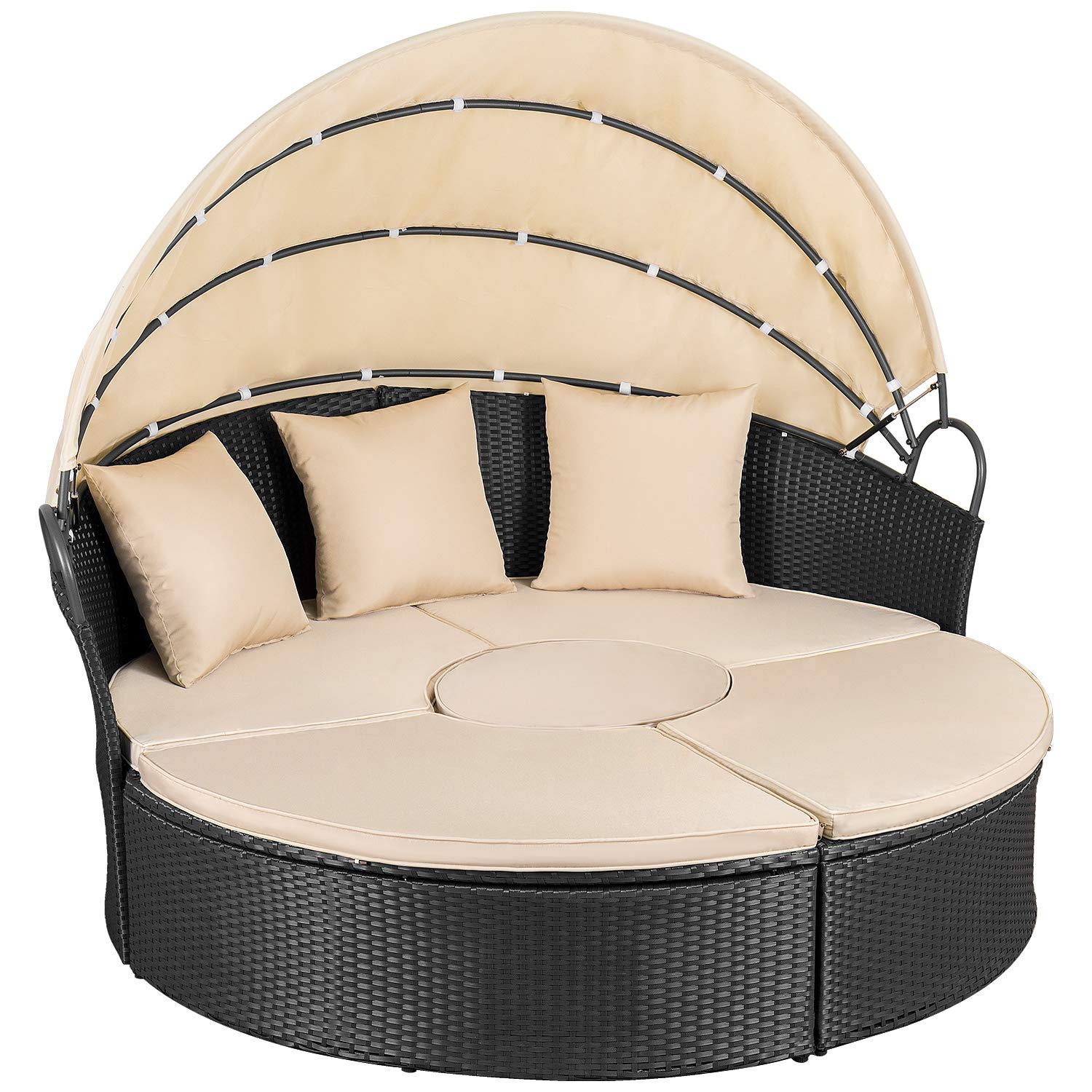 Homall Outdoor Patio Round Daybed with Retractable Canopy Wicker Furniture Sectional Seating with Table and Washable Cushions for Patio Backyard Porch Pool Patio Daybed Separated Seating Beige