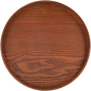 Round Natural Wood Serving Tray Tea Coffee Snack Food Meals Serving Tray Anti-Slip Brown Wooden Plate Dishes Water Drink Platter With Raised Edges(3030cm)