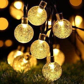 6 metros Solar cadena luces, DINOWIN Impermeable 30 LED Solar Bola de cristal cadena de luces para interior, exterior hada globo cadena luces,para jardín,boda,decoración de hogar, fiesta,Luz blanca: Amazon.es: Iluminación