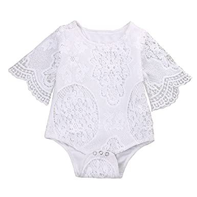 229bf66bf GRNSHTS Infant Baby Girl White Hollow Ruffles Sleeve Lace Romper Sunsuit  Bodysuit (60cm / 0