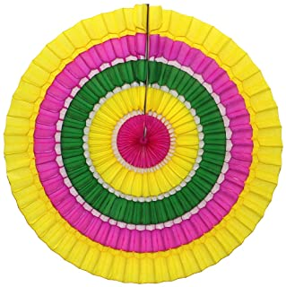 product image for Devra Party 6-Pack 16 Inch Striped Honeycomb Tissue Paper Fan (Spring - Yellow/Pink/Green)