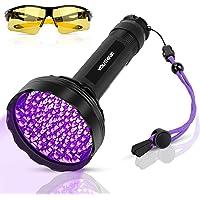 YOUTHINK Linterna UV Ultravioleta Luz Negra 128 LED 395nm Mascotas Detector de Orina en Alfombras, Cortinas, Muebles con…