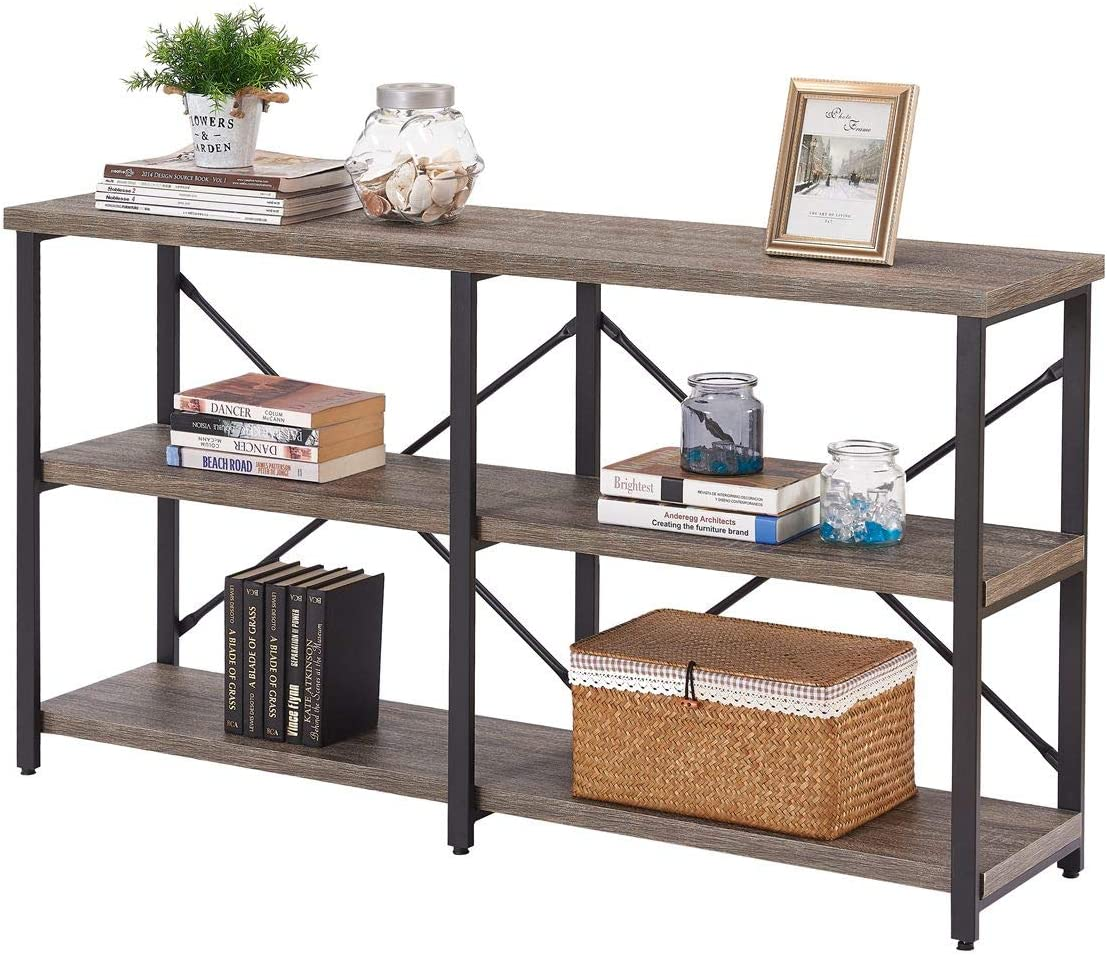 BON AUGURE Rustic Console Sofa Table, Industrial Long Hallway Entryway Table, 3 Shelf Open Bookshelf 55 Inch, Dark Gray Oak