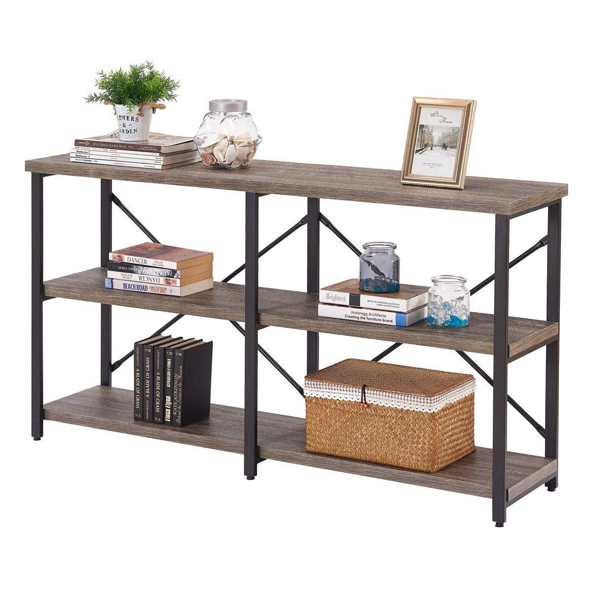 BON AUGURE Rustic Console Sofa Table, Industrial Hallway/Entryway Table, 3 Shelf Open Bookshelf (55 Inch, Dark Gray Oak)