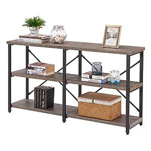 BON AUGURE Rustic Console Sofa Table, Industrial Hallway/Entryway Table, 3 Shelf Open Bookshelf (55 Inch, Dark Gray Oak)