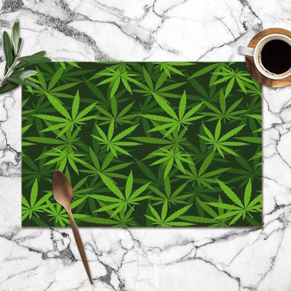 Tommy Warren Manteles Individuales, cáñamo de Marihuana Maceta Verde Hierba Hierba Hierba Naturaleza Manteles Individuales Manteles Lavables para Cocina Mesa de Comedor